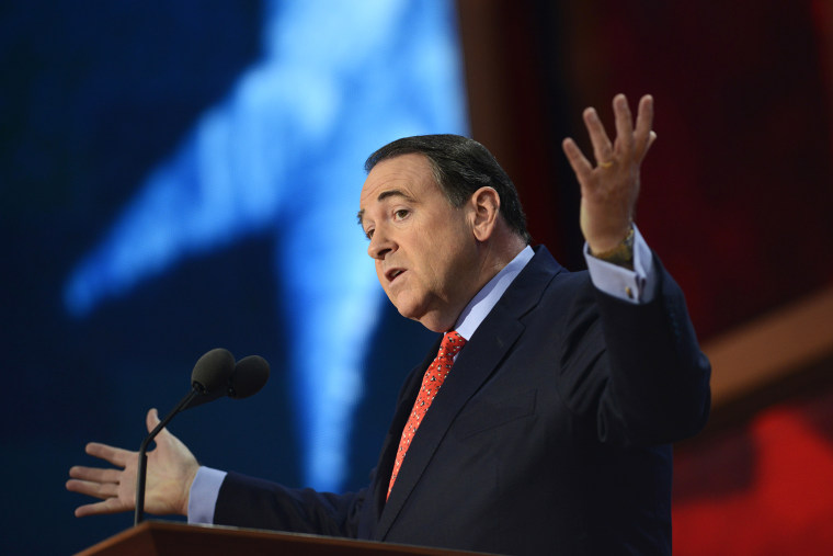 Former US presidential contender Mike Huckabee speaks during the third day of the 2012 Republican national Convention at the Tampa Bay Times Forum on Aug.  29, 2012 in Tampa, Fla.