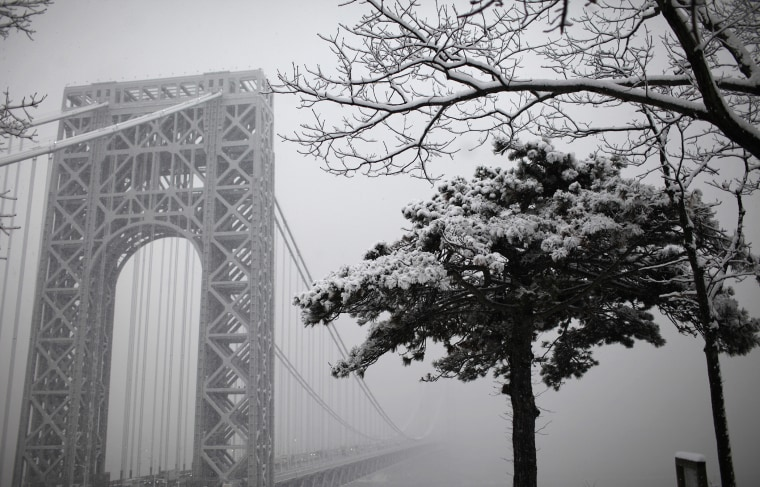 A view of the George Washington Bridge from Fort Lee, New Jersey crossing the Hudson river towards New York City, January 7, 2011.