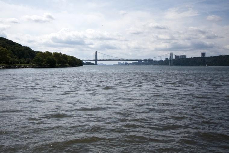 The Hudson River looking south toward the George Washington Bridge, September 5, 2013.