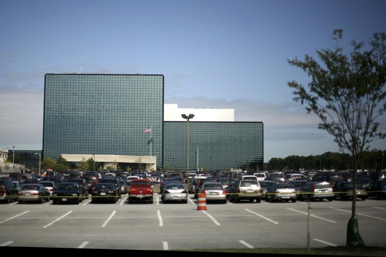 The National Security Agency building is shown in Fort Meade, Maryland.