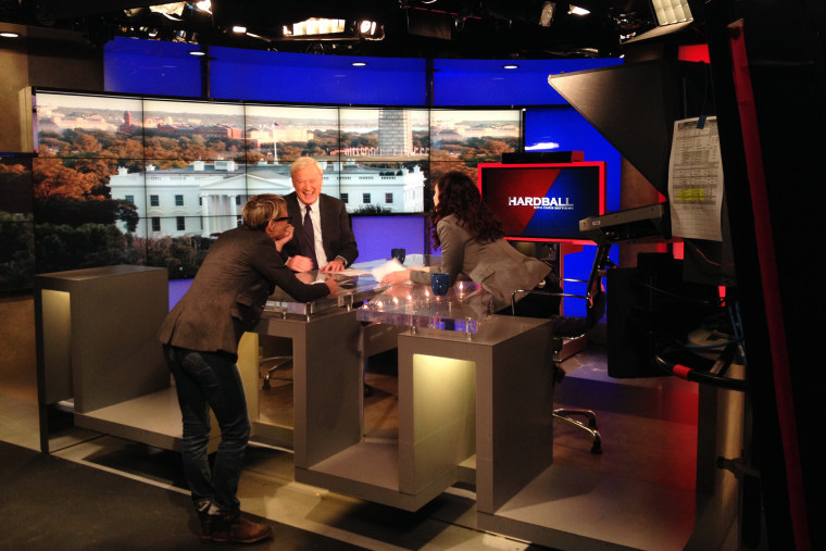 """Hardball"" host Chris Matthews chats on set with ""House of Cards"" actors Robin Wright and Mozhan Marno."