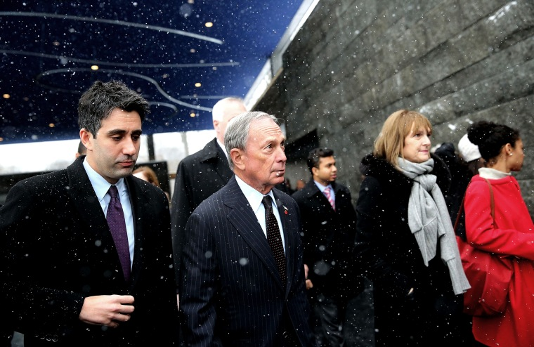 New York City Mayor Michael Bloomberg (2nd L) attends a ribbon cutting ceremony in Prospect Park in New York City on Dec. 17, 2013 .