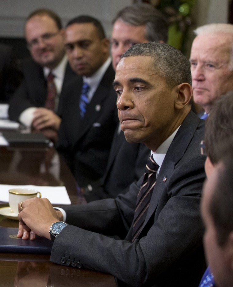 President Barack Obama pauses as he speaks to media before a meeting with mayors and newly-elected mayors from across the country, Friday, Dec. 13, 2013, in the Roosevelt Room of the White House.