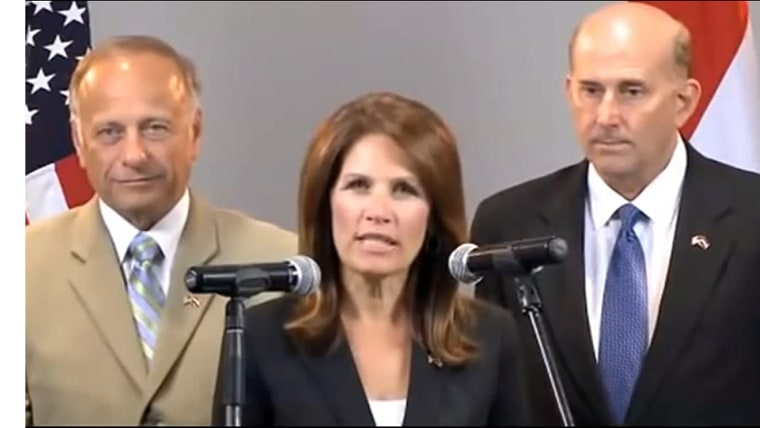 From left to right, Reps. Steve King (R-Iowa), Michele Bachmann (R-Minn.), and Louie Gohmert (R-Texas) in a frame from their video address to the people of Egypt, September 7, 2013.