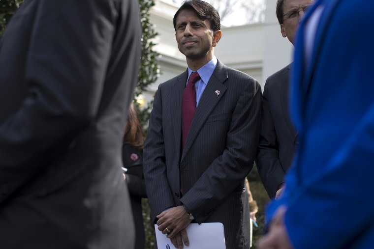 Louisiana Gov. Bobby Jindal outside the White House in Washington, Feb. 25, 2013.
