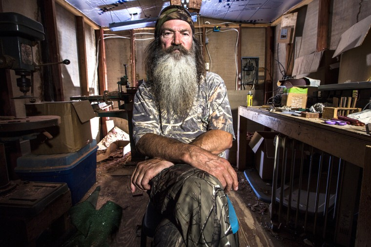 "Phil Robertson from the series ""Duck Dynasty"" in an image released by A&E."