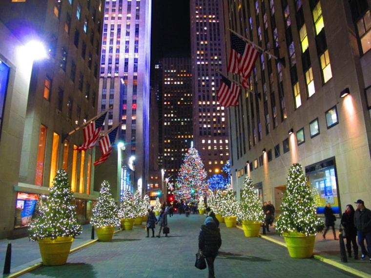 The Rockefeller Center Christmas Tree lights the plaza, New York City, December 11, 2013.