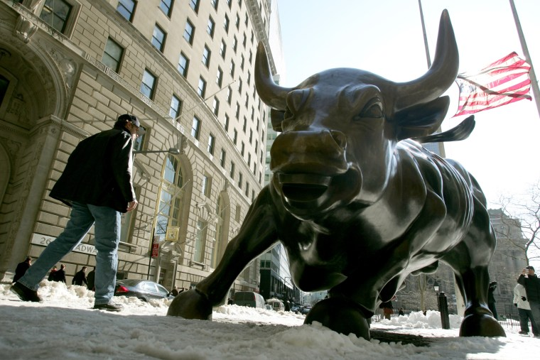 The bronze 'Charging Bull' sculpture that symbolizes Wall Street is photographed Tuesday, Feb. 14, 2006, in the financial district of New York.