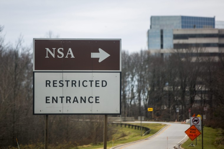 A road sign for the headquarters of the National Security Administration (NSA) is seen in Fort Meade, Maryland, December 22, 2013.