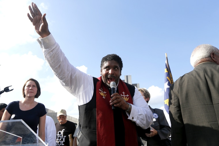 "Rev. William Barber speaking during ""Moral Monday"" protests on Halifax Mall in Raleigh, N.C. on July 22, 2013"
