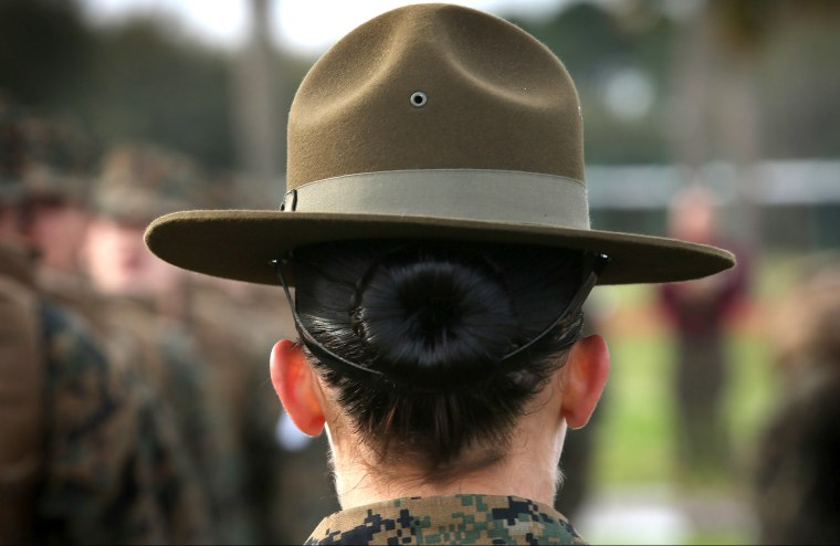 A Drill Instructor speaks to her female Marine recruits during boot camp February 27, 2013 at MCRD Parris Island, South Carolina.