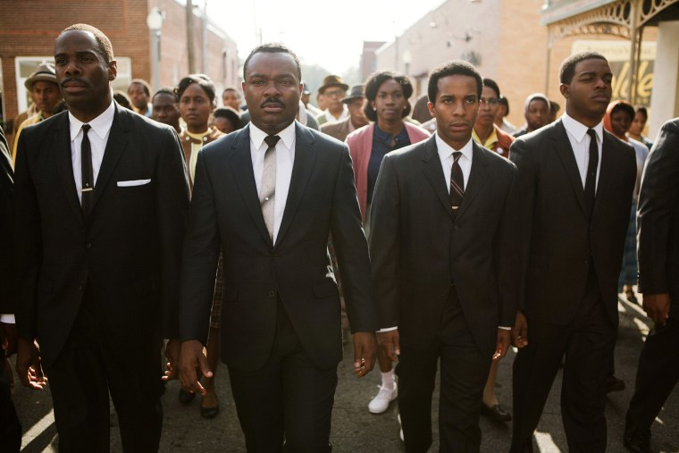 "A photo released by Paramount Pictures shows, from left, foreground: Colman Domingo as Ralph Abernathy, David Oyelowo as Dr. Martin Luther King, Jr., Andre Holland as Andrew Young, and Stephan James as John Lewis in a scene from the film, ""Selma."""