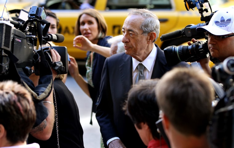 Former New York Gov. Mario Cuomo is surrounded by cameras as he arrives for the funeral of former Gov. Hugh Carey, Aug. 11, 2011 at St. Patrick's...