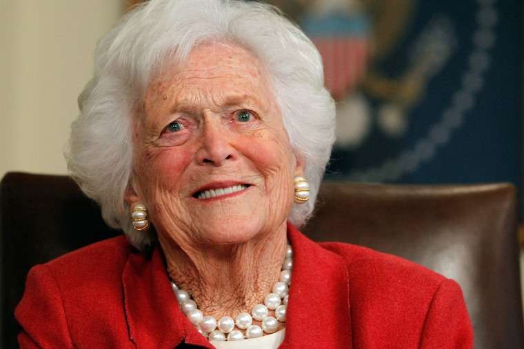 Mrs. Bush, aged 88, has been admitted to Houston Methodist hospital with pneumonia.