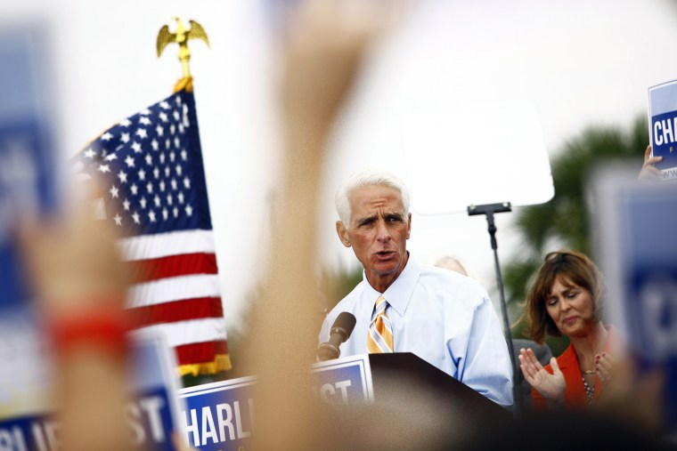 Former Florida Gov. Charlie Crist announces that he will run for Governor as a Democrat on Nov. 4, 2013 at Albert Whitted Park in St. Petersburg, Fla.