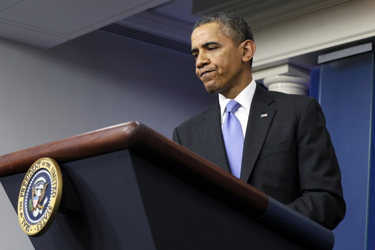 President Barack Obama at a news conference in the Brady Room, Dec. 20, 2013.