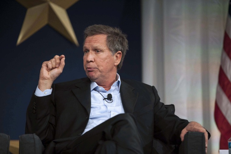 Governor John Kasich (R-OH) responds to a topic at the 2013 Republican Governors Association conference in Scottsdale, Arizona, November 20, 2013.