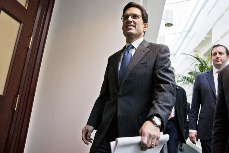 Eric Cantor arrives for a closed-door GOP strategy session on Capitol Hill, Dec. 11, 2013.
