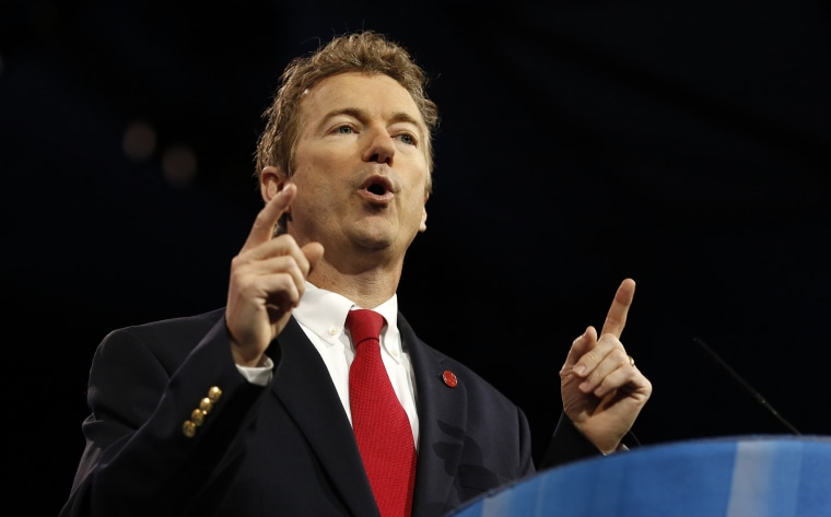 Senator Rand Paul (R-Ky.) speaks at the Conservative Political Action Conference (CPAC) at National Harbor, Md., March 14, 2013.