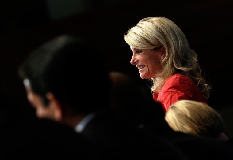 Texas State Sen. Wendy Davis (D) speaks at the National Press Club, Aug. 5, 2013 in Washington, DC.