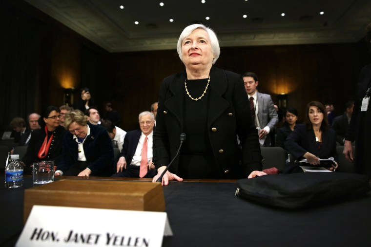 Nominee for the Federal Reserve Board Chairman Janet Yellen leaves after her confirmation hearing, Nov. 14, 2013 on Capitol Hill in Washington, DC.