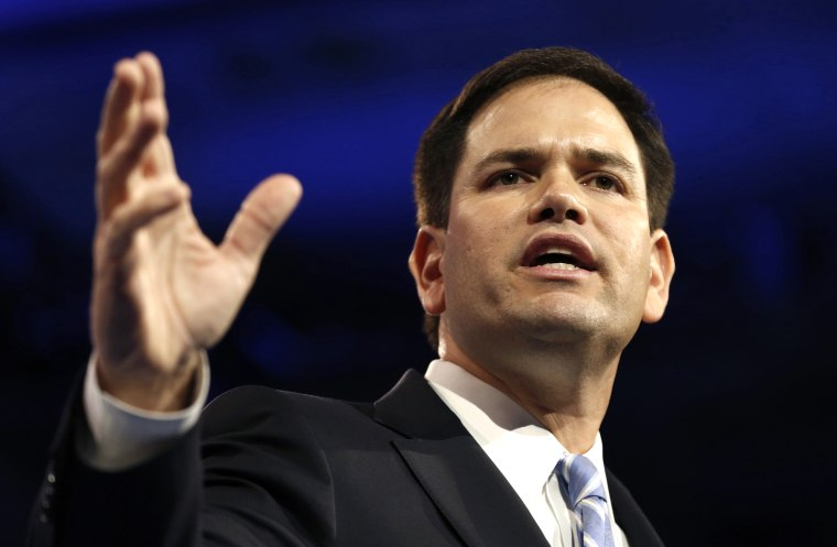 Senator Marco Rubio of Florida speaks at the Conservative Political Action Conference (CPAC) at National Harbor, Md., March 14, 2013.