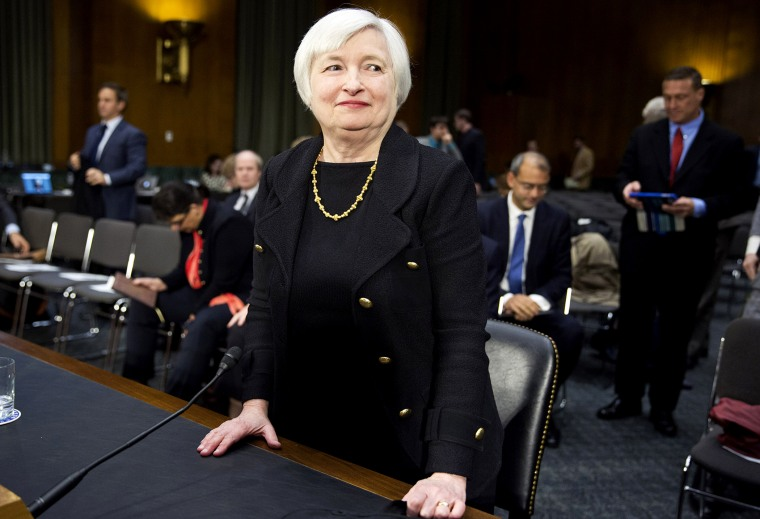 Federal Reserve Vice Chair Janet Yellen stands after testifying during a confirmation hearing on her nomination to be the next chairman of the U.S. Federal Reserve in Washington, Nov. 14, 2013.