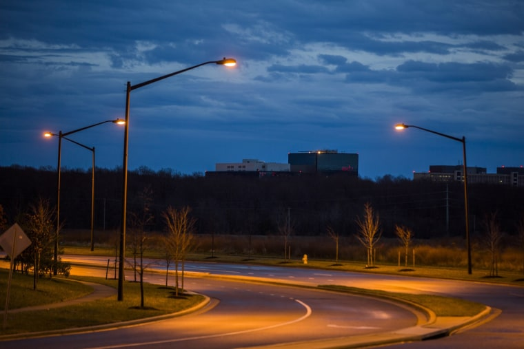 The headquarters of the National Security Administration (NSA) is seen rising above an empty street in Fort Meade, Maryland, December 22, 2013.