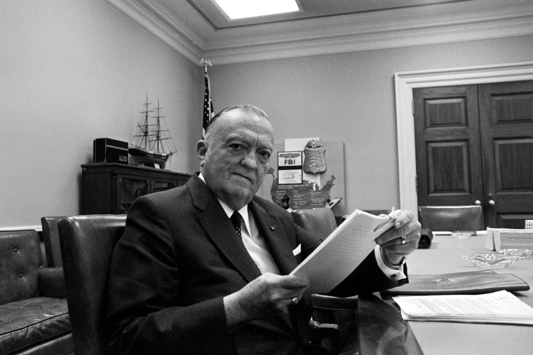FBI director J. Edgar Hoover is shown at his office desk in Washington, D.C., on July 1, 1970.
