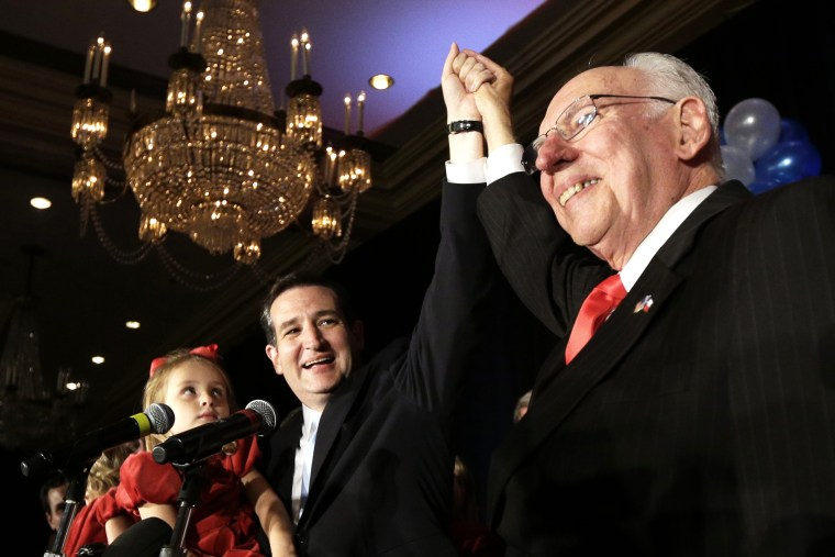 Ted Cruz with his father, Rafael, during a victory speech, Nov. 6, 2012.
