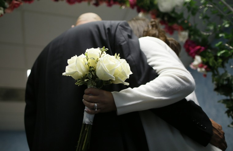 A couple at a wedding in Norwalk, Conn. on December 12, 2012.
