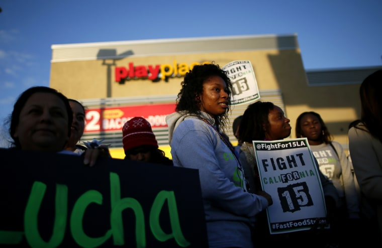 Protesters gather outside McDonald's in Los Angeles, Cali. on Dec. 5, 2013.