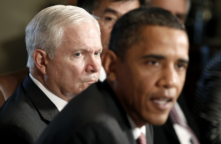 Secretary of Defense Robert Gates with President Barack Obama in a cabinet meeting at the White House on June, 22, 2010.