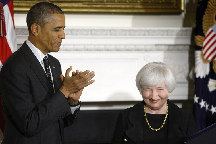 President Barack Obama applauds after announcing his nomination of Janet Yellen to head the Federal Reserve at the White House in Washington in this October 9, 2013.