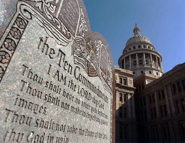 A tablet of the Ten Commandments, which is located on the grounds of the Texas Capitol Building in Austin, Texas, is seen in a Tuesday Oct. 12, 2004 photo.