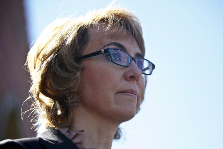 Former congresswoman Gabrielle Giffords addresses a news conference for victims of the January 8, 2011 Tucson shooting, March 6, 2013.