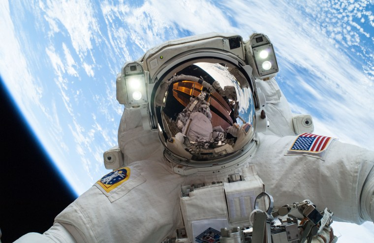 NASA astronaut Mike Hopkins, Expedition 38 Flight Engineer, participates in the second of two spacewalks on the exterior of the International Space Station.