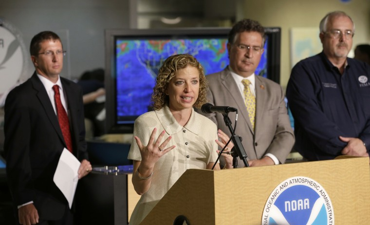 Debbie Wasserman Schultz speaks during a news conference, Friday, May 31, 2013 at the National Hurricane Center in Miami.