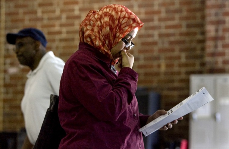 Naima Chahli votes on a proposed state constitutional amendment in Raleigh, N.C. on May 8, 2012.