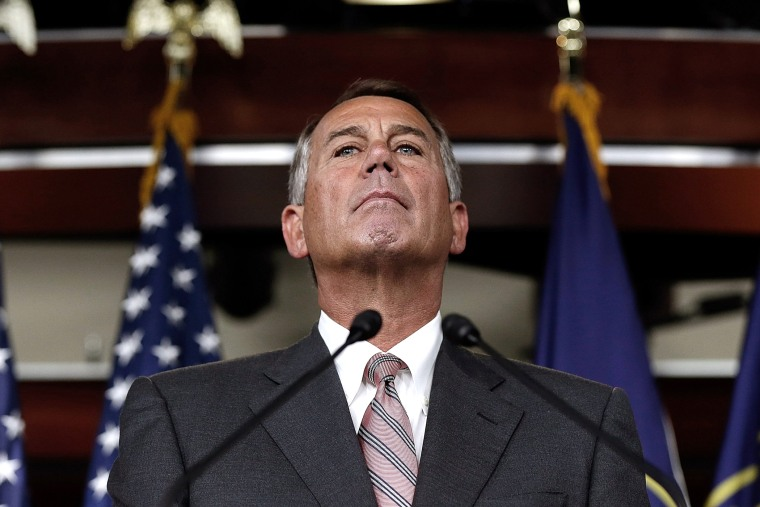 U.S. Speaker of the House John Boehner (R-OH) answers questions during his weekly press conference Jan. 9, 2014.