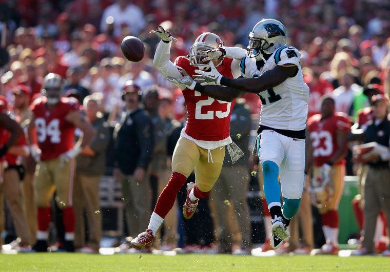 Tarell Brown #25 of the San Francisco 49ers breaks up a pass intended for Brandon LaFell #11 of the Carolina Panthers during a regular season meeting at Candlestick Park, Nov. 10, 2013 in San Francisco, Calif.