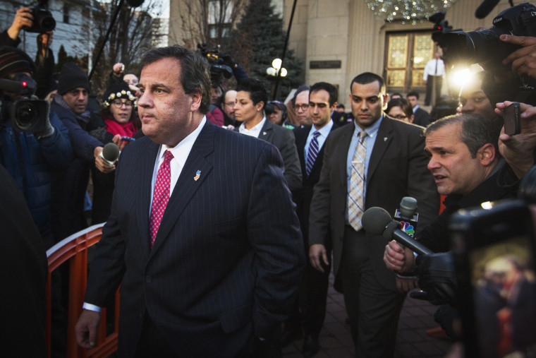 New Jersey Governor Chris Christie departs City Hall in Fort Lee, New Jersey, Jan. 9, 2014.