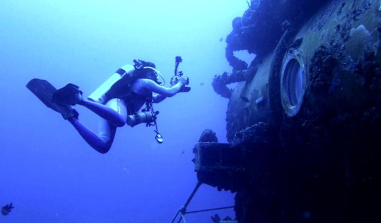 Fabien Cousteau outside the Aquarius.