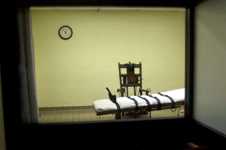 The death chamber at the Southern Ohio Correctional Facility.
