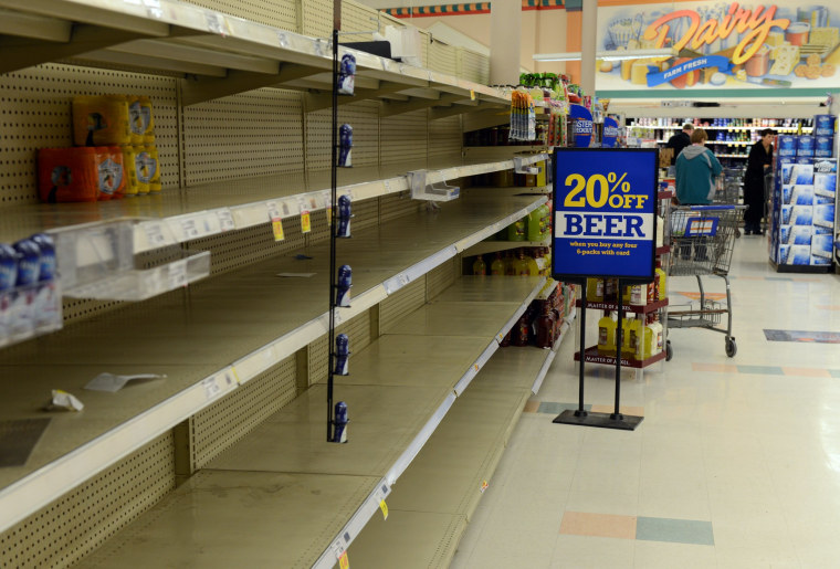 Shelves at Krogers remain empty after running out of water in Kanawha City a neighborhood of Charleston on January 10, 2014  in Charleston, West Virginia.