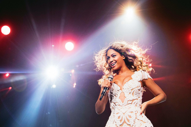 """Beyonce performs onstage at her """"Mrs. Carter Show World Tour 2013,"""" Dec. 7, 2013."""