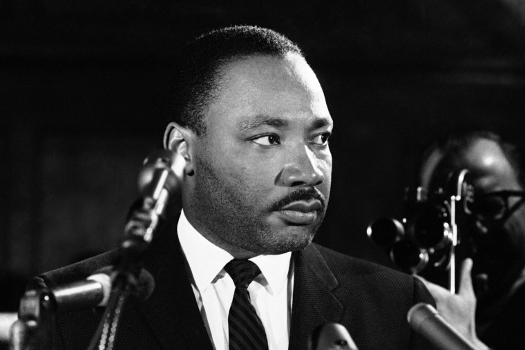 Dr. Martin Luther King at a news conference in Selma, Alabama on Feb. 5, 1965.