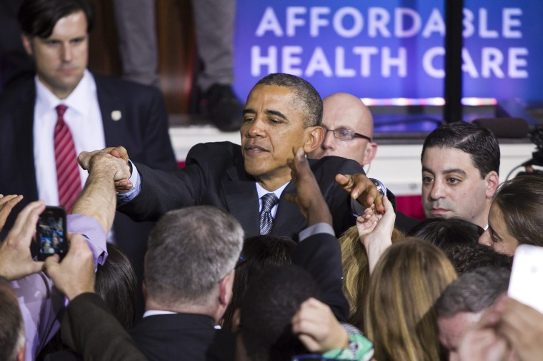 President Barack Obama during his speech on the Affordable Care Act inside historic Faneuil Hall in Boston, Massachusetts, October 30, 2013.