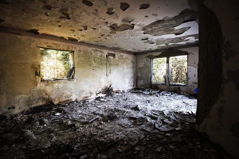 Damage inside the burnt US consulate building in Benghazi is seen on Sept. 13, 2012.