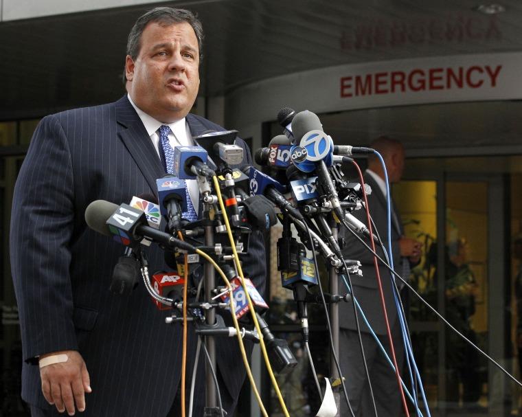 New Jersey Gov. Chris Christie talks to the media, Thursday, July 28, 2011, in Somerville, N.J.